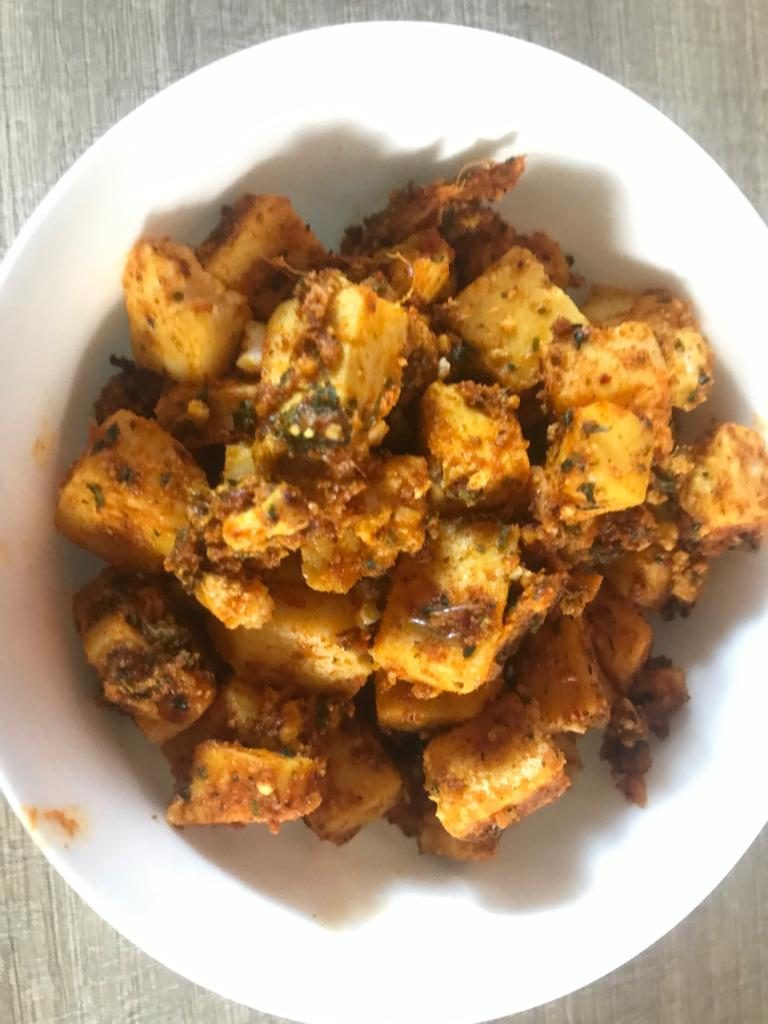 Panner marinated with typical Indian spices, ginger garlic paste,besan and thick curd is used to make paneer tandoori masala.